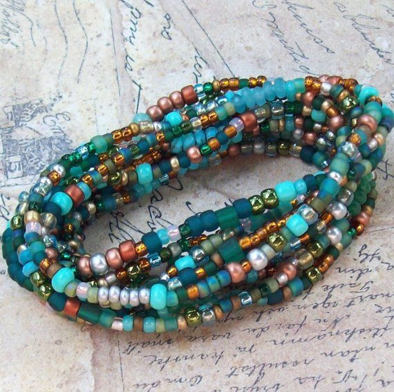 Copper Teal Bead Bracelet Green