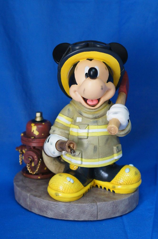 disney parks mickey mouse fireman medium statue new with box