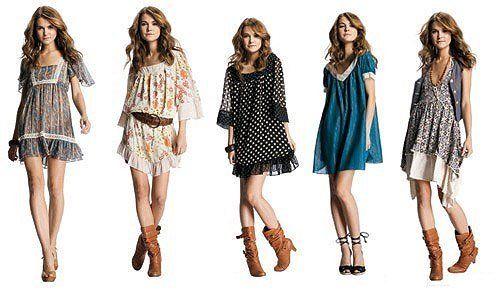 Vestidos hippies cortos con botas