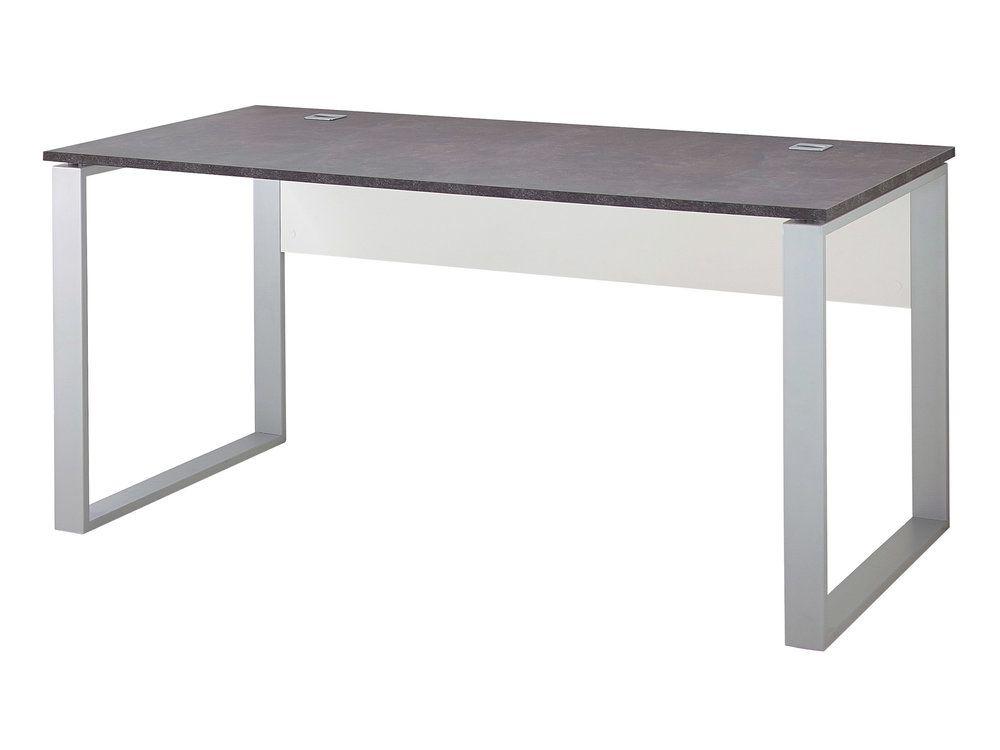 Bureau rectangulaire en bois avec piètement luge en métal l xh
