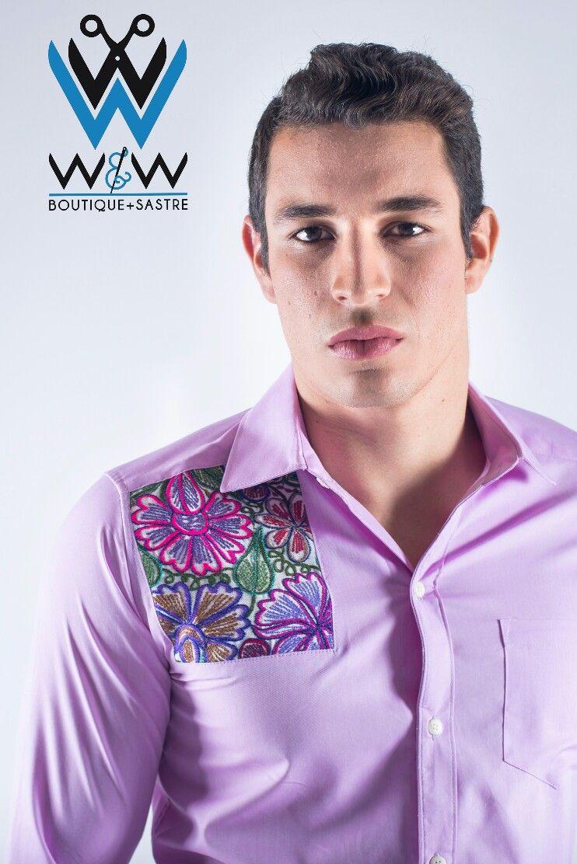 Camisa manga larga bordado chiapaneco 100% artesanal