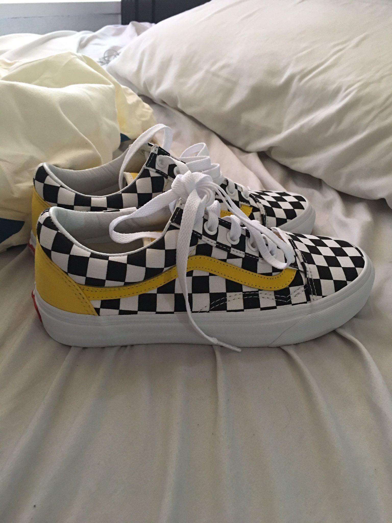 yellow and white vans
