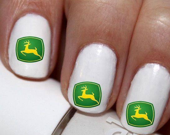 20 Pc Green John Deere Nail Art Cg0na44 Nailshair Pinterest