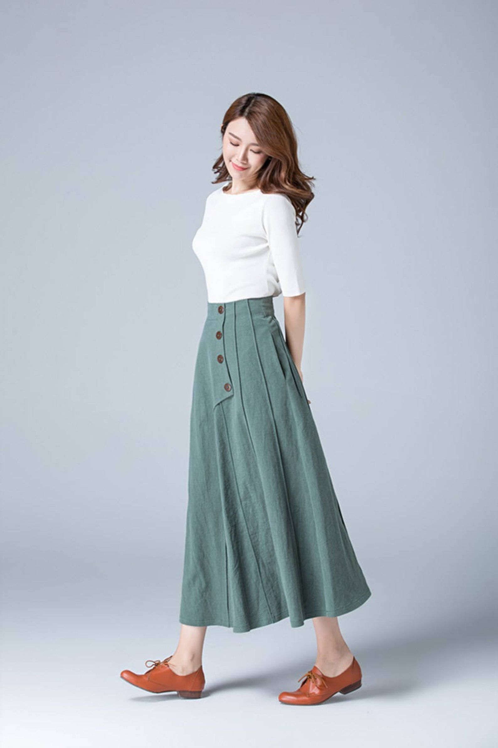 Green skirt, linen skirt, full skirt, casual skirt, button skirt, skirt with pockets, womens skirt, long skirt, plus size skirt 1775# #casualskirts
