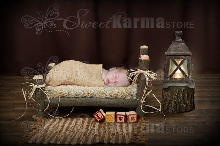 Custom Log Newborn Infant Bed Photography Prop Custom