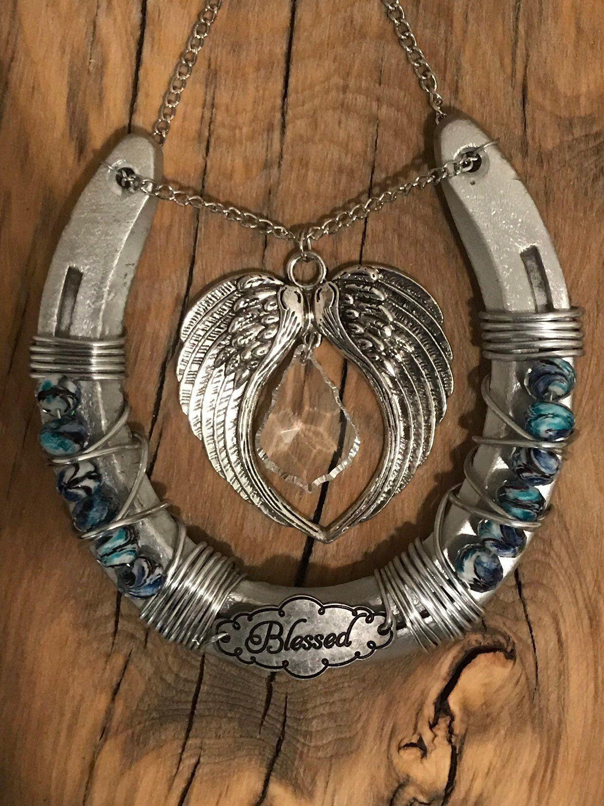 Decorated Horseshoe Angel Wings Crystal Horseshoe Lucky