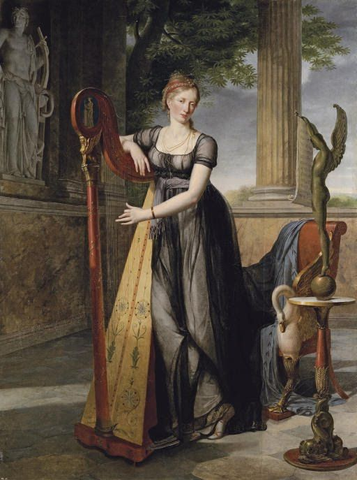 Portrait of Marie-Denise Smits, née Gandolphe (1777-1857), full-length, in a black dress, playing a harp in an interior