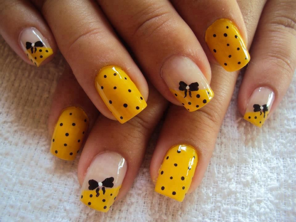 Adorable yellow nails with black polka dots, hand painted bows ...