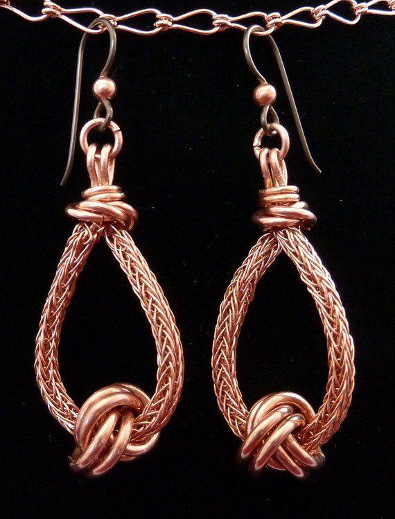 Wire earrings Modern Earrings Viking Knit earrings Blue Viking Knit Earrings Blue Earrings Viking Knit Studio