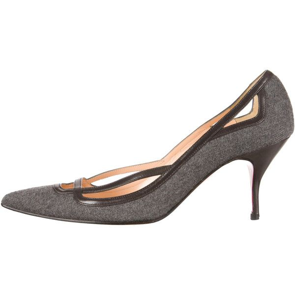 Pre-owned Christian Louboutin Pumps (385 CAD) ❤ liked on Polyvore featuring shoes, pumps, grey, grey pointed toe pumps, gray pumps, genuine leather shoes, real leather shoes and grey shoes