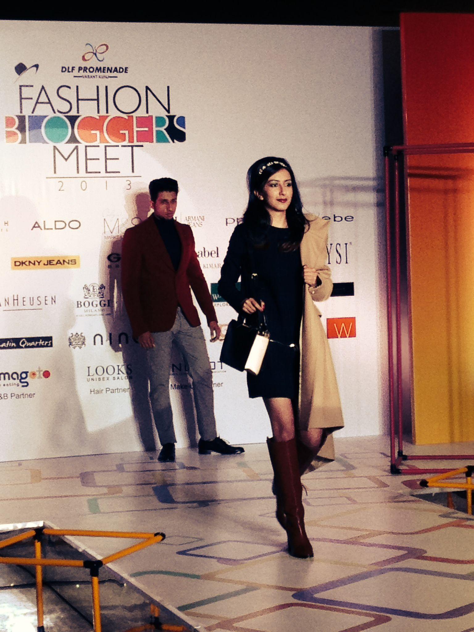 Model walking the ramp