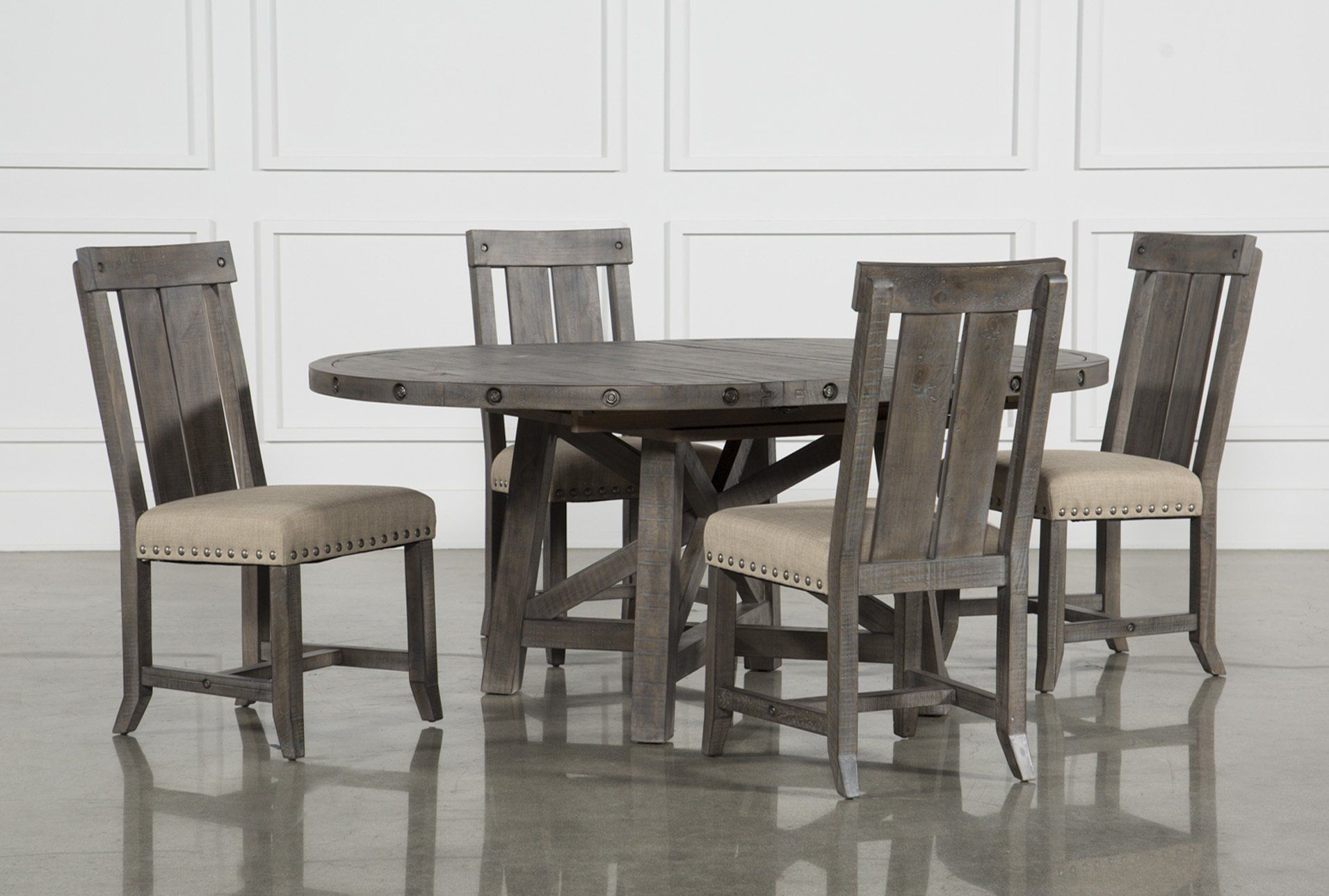 be3d3822a Jaxon Grey 5 Piece Round Extension Dining Set W Wood Chairs ...