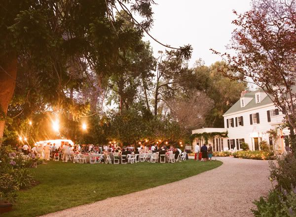 a beautiful all american wedding venue complete with colonial architecture and white lights