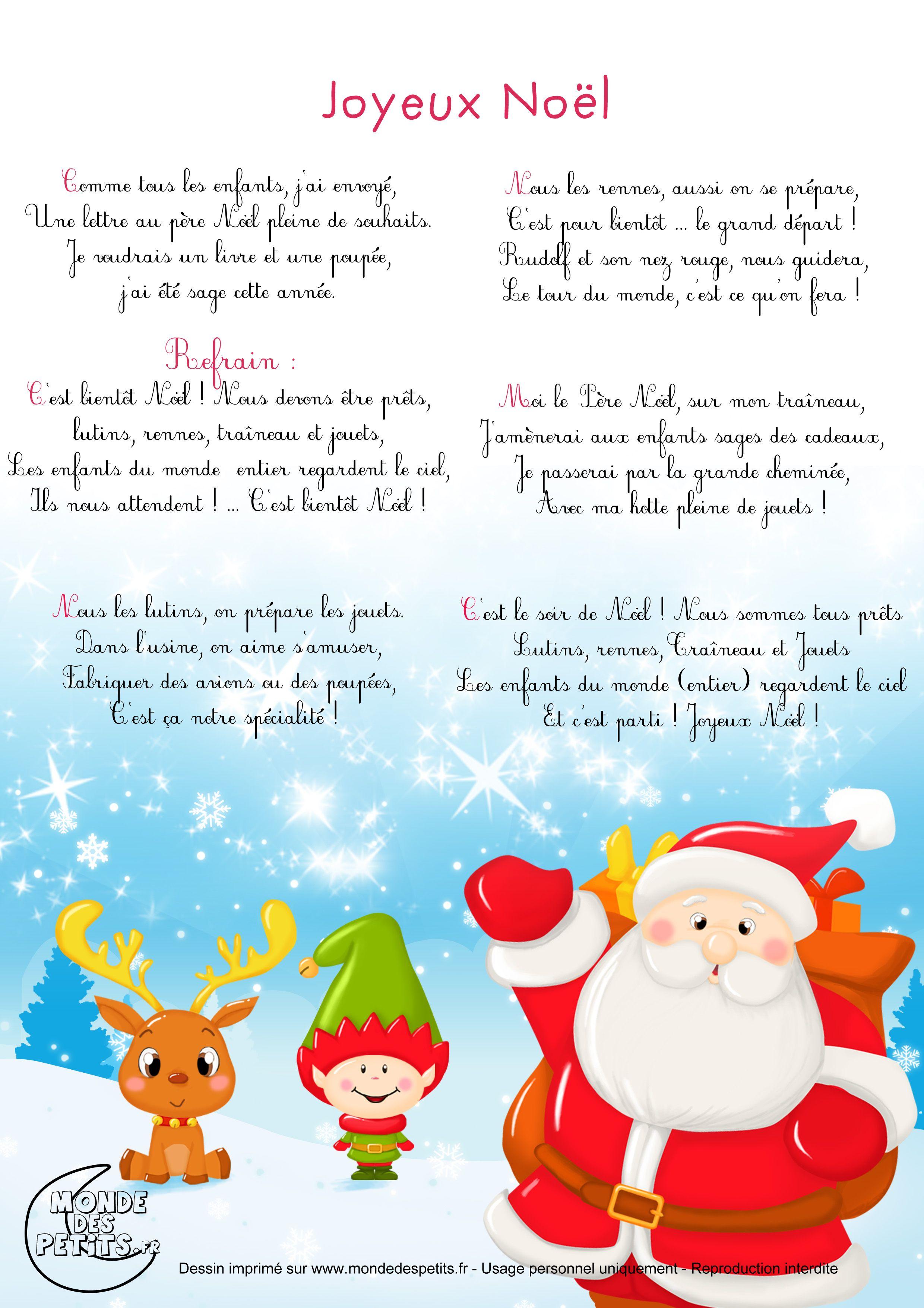 Chanson De Noel Pour Enfant : chanson, enfant, Paroles_Chanson, Noël, Joyeux, Chanson, Noel,, Maternelle,, Comptines