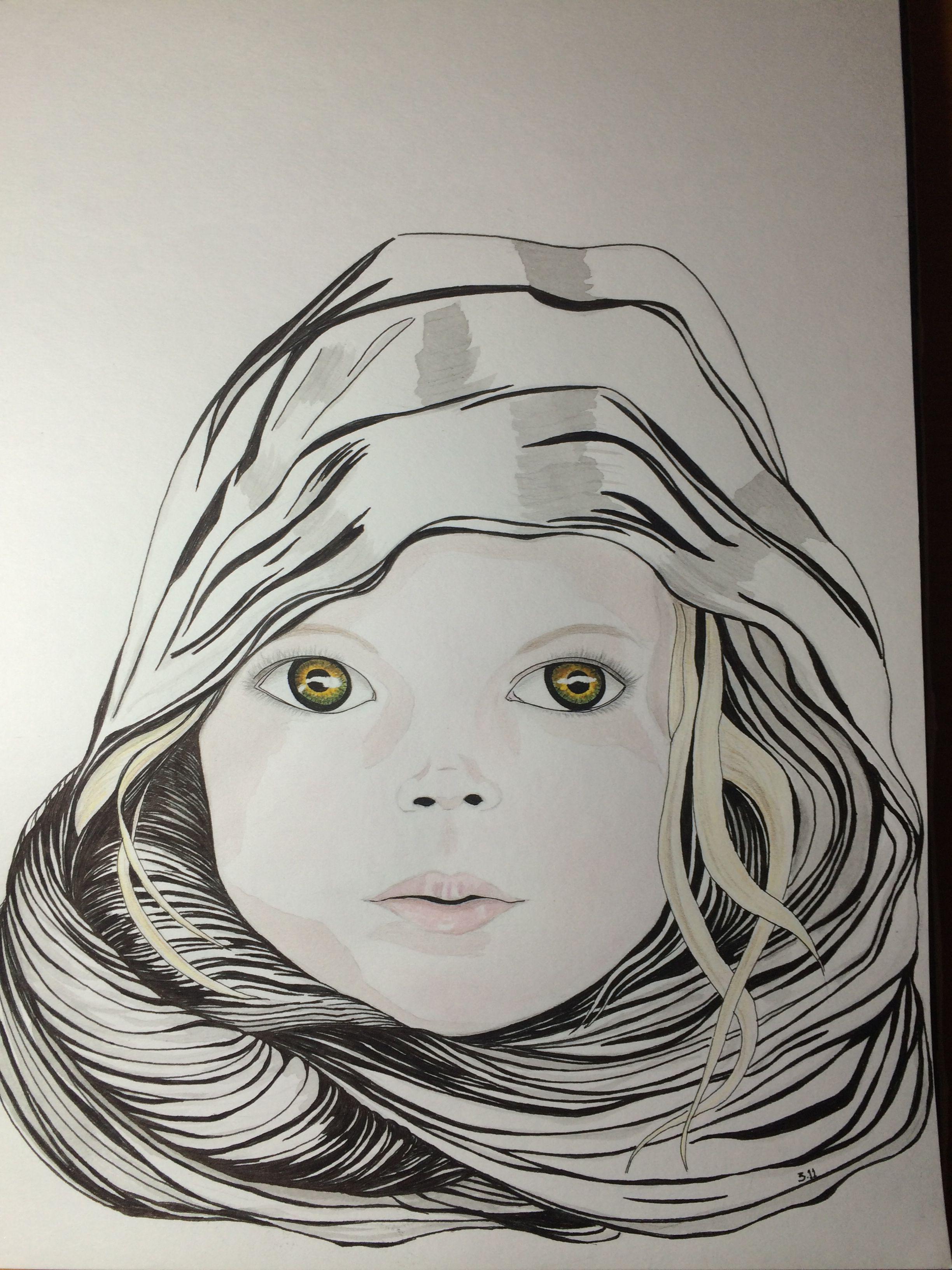 Cara de bebé con lápiz de grafito, acuarela y lápices de colores .