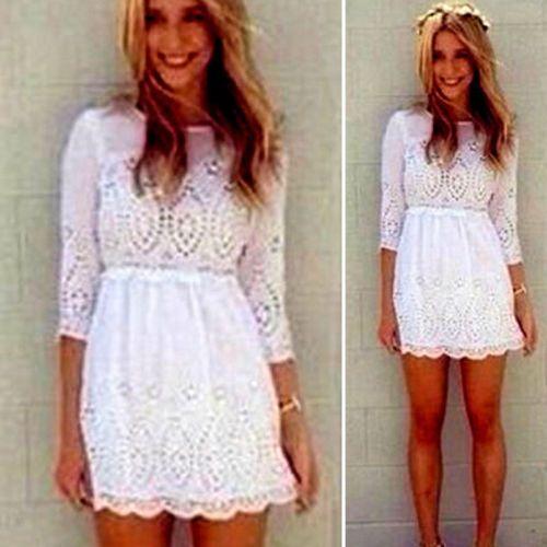 Aliexpress.com: Comprar 2014 resorte nuevas mujeres nueva señora atractiva de manga larga ocasional del verano nuevo partido corto vestido delgado blanco de vestidos de oficina fiable proveedores en bling-bling store