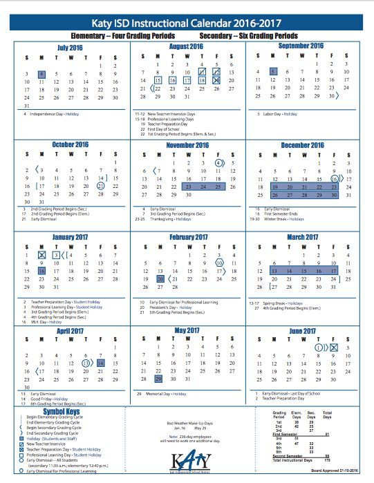 Katy ISD 2016-2017 Calendar | Katy ISD Schools | Pinterest | School
