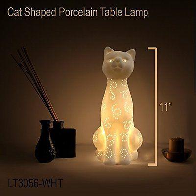 Simple Designs Lt3056-wht White Porcelain Animal Shaped Table Lamp, Kitty Cat
