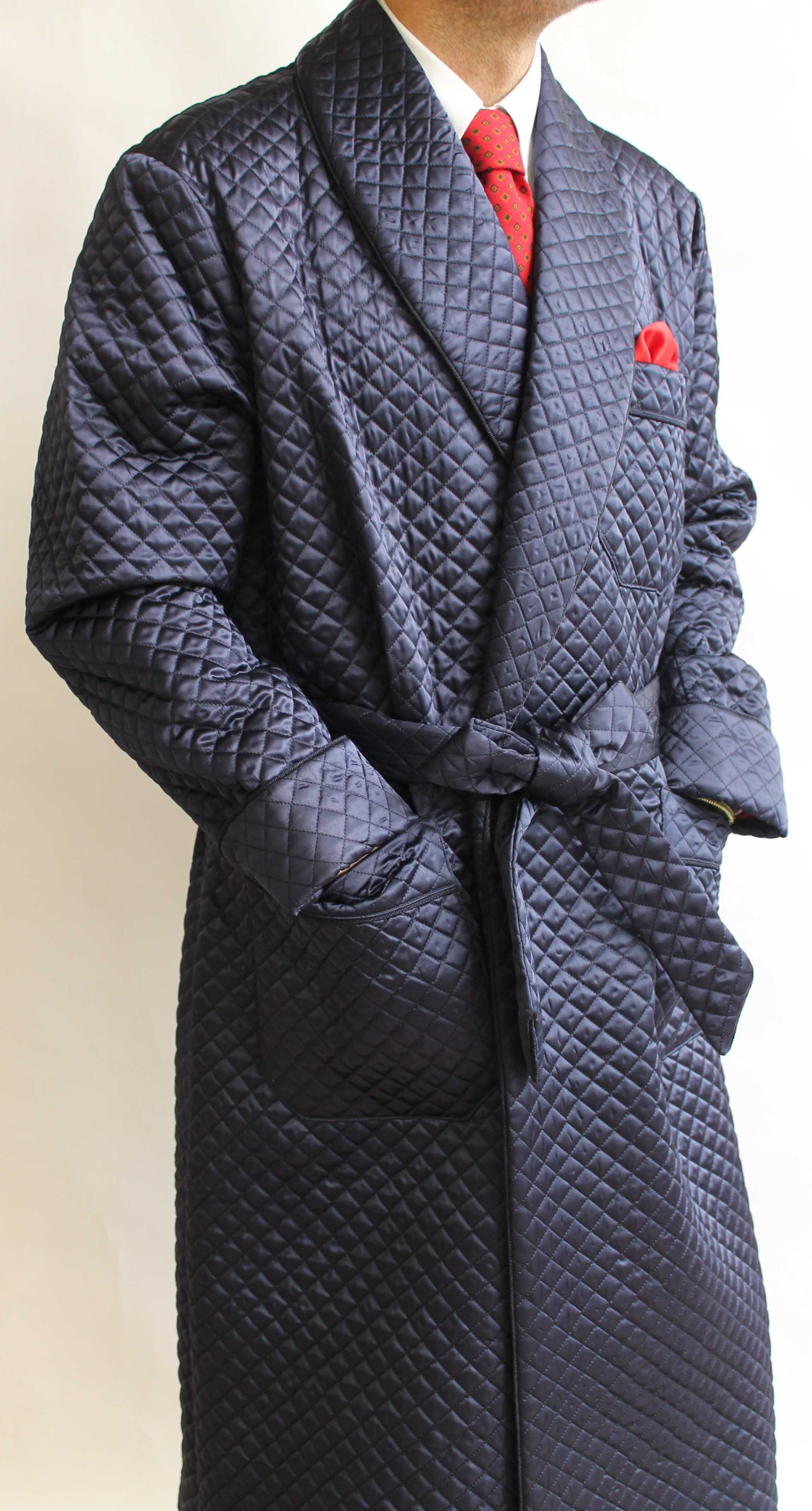 66a6697729 QUILTED BEMBERG CLASSIC DRESSING GOWN FOR MAN FULL BEMBERG LINING WITH  PIPING.