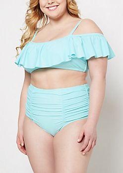 8a272c992917f Plus Light Blue Flounce Off-Shoulder Bikini Top   rue21   I Neeeeed ...