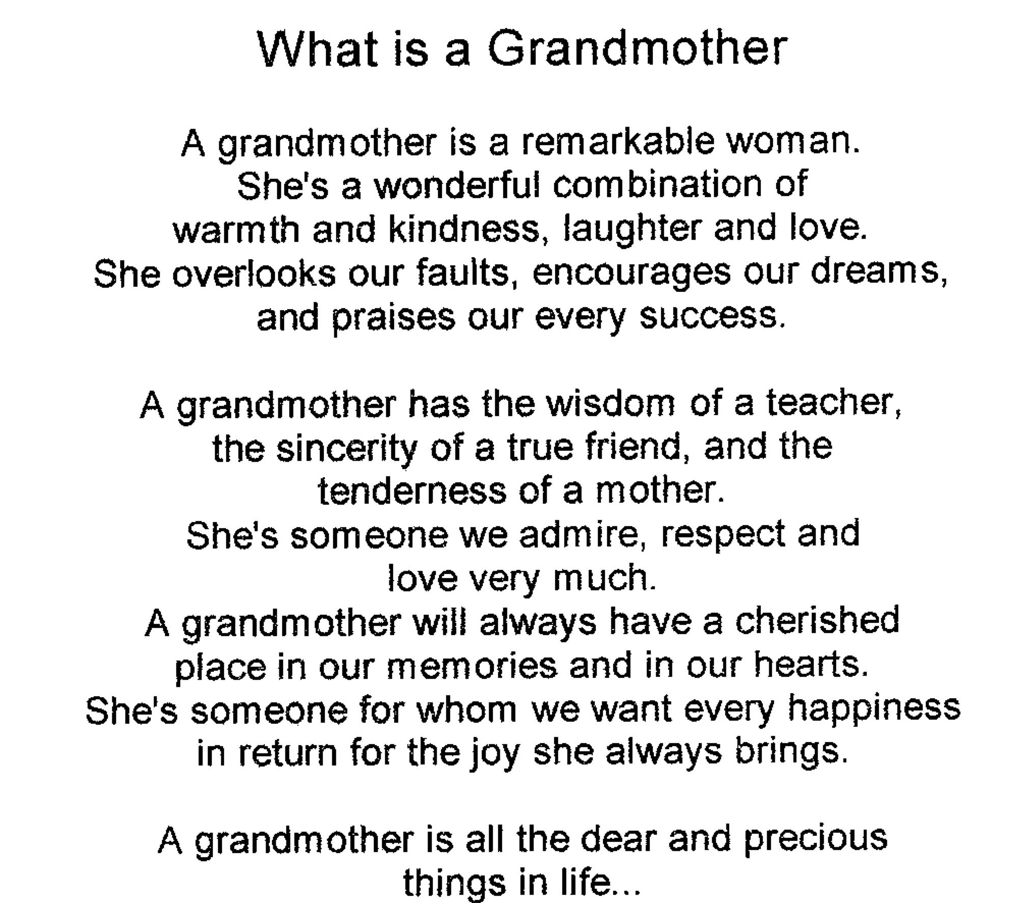 Poem for a grandmother on her birthday google search for Sweet things to say to your grandma