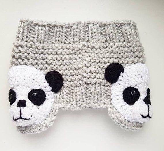 Panda Headband, Knit Headband, Ear Warmer, Head Wrap, Girls Headband, Earmuffs, Kids Outfit, Girls Outfit, Winter Accessories, Gray headband