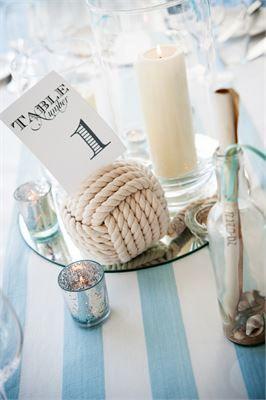 Nautical themed wedding centrepiece idea