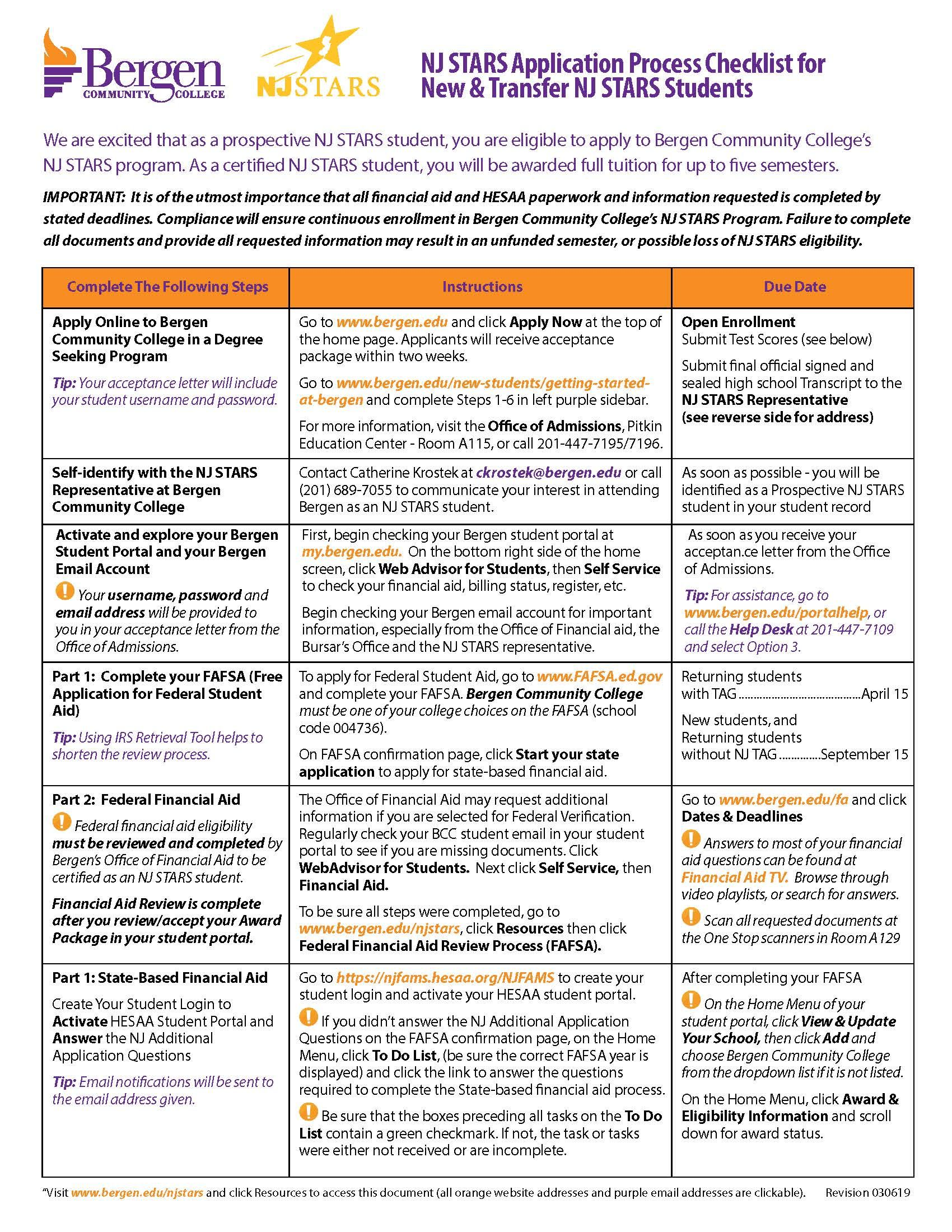 Checklist to help new students NJ STARS students at