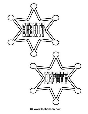 Cowboys Deputy Sheriff Badge Coloring Page Wild West Theme