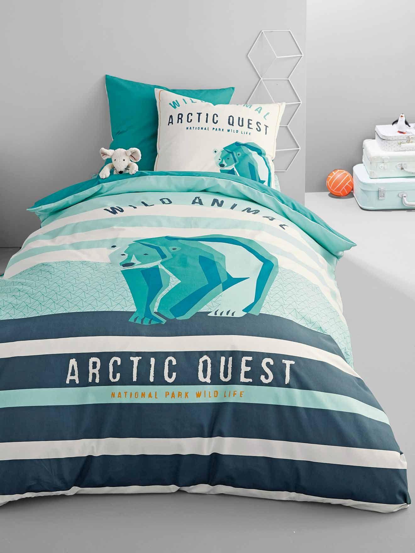 Silhouette taie d 39 oreiller arctic quest housse de couette arctic quest drap housse arctic - Housse de couette 220x240 garcon ...