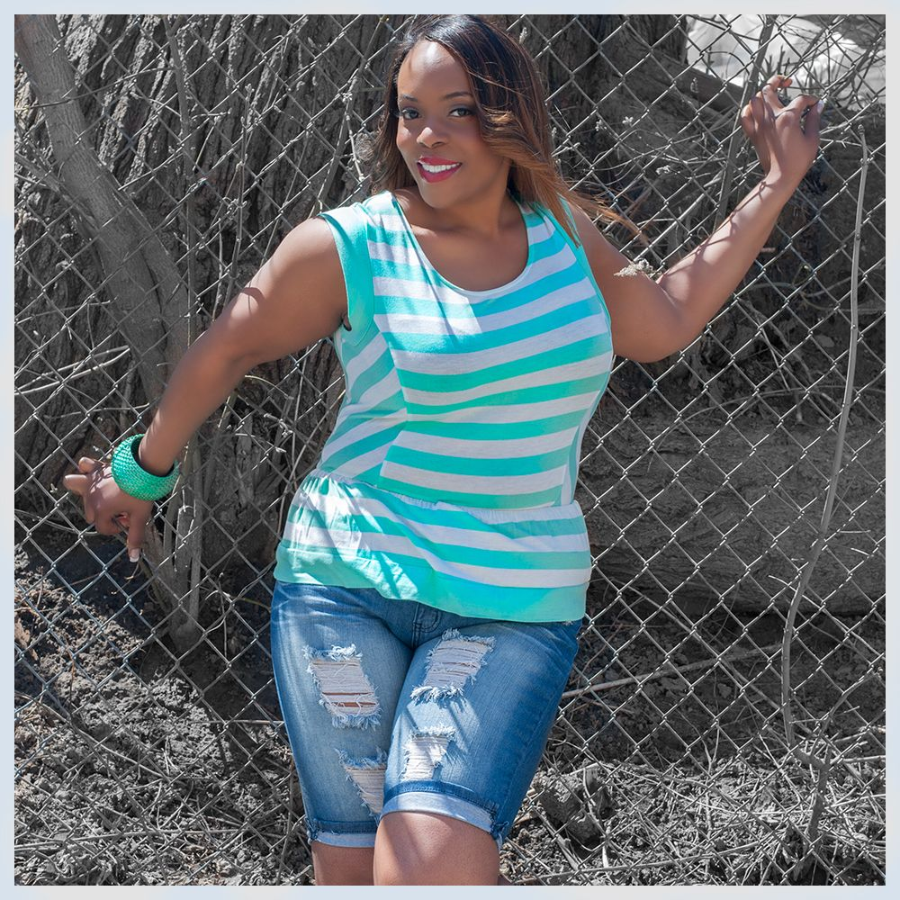Get ready for summer with this trendy Aqua striped peplum blouse for just $35 (also comes in Black) and these ripped Bermuda shorts at $45!