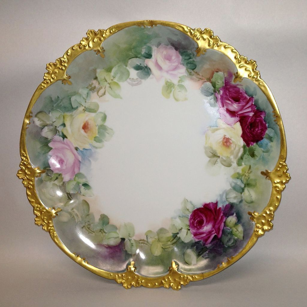 G D A French Limoge Hand Painted Roses