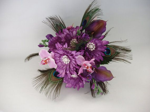 SILK BROOCH PEACOCK Bouquet Purple Gerbera Orchid by LizAnnFlorals, $165.00