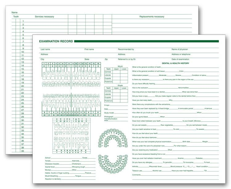Dental Exam RecordCharts Item Number  Record Every Detail Of