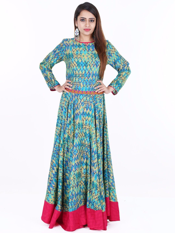 Printed Cotton Blue Festive Wear Long Anarkali Kurti | Buy ...