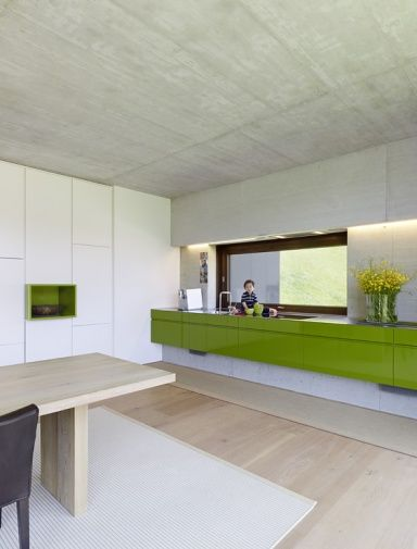 Grüne Küche mit Sichtbeton - Küchen in Architektenhäusern 18 - schöner wohnen küchen