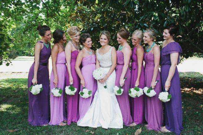 Bridal Party Nashville Wedding Photos Purple Bridesmaid Dresses Unique White Daisy Bouquets Photographers