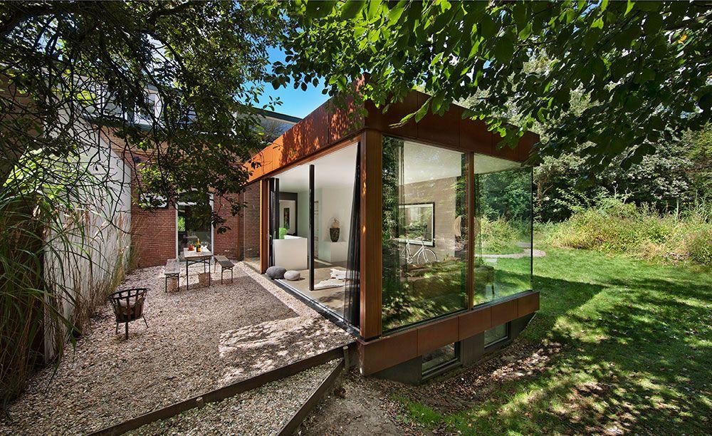 Offenes Wohnzimmer Mit Kleinem Garten Umbau Cortenstahl Renovierung