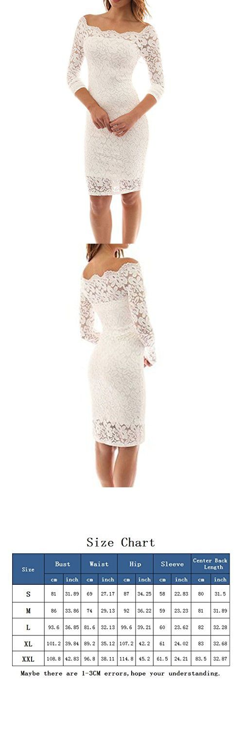 1c182ec18f54 LITTLEPIG Women s Off Shoulder Elegant Lace Hollow Dress Long Sleeve  Bodycon Cocktail Party Wedding Dresses
