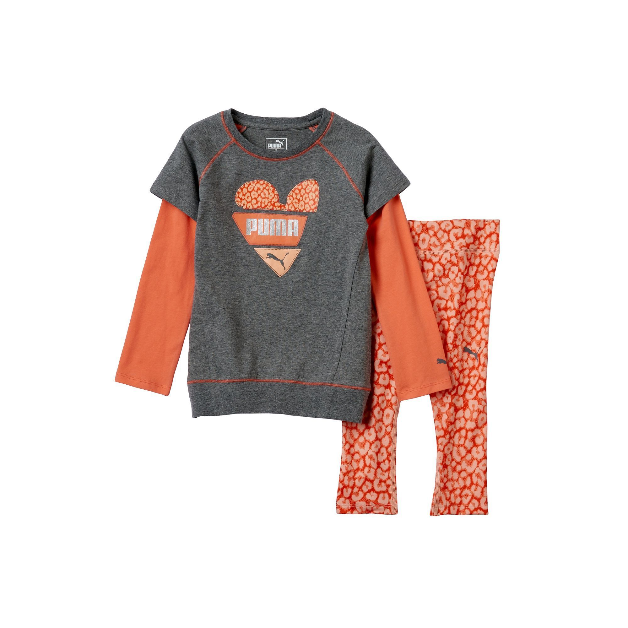 Girls 4-6x PUMA Mock-Layer Heart Tee & Animal Print Leggings Set, Size: 4, Grey Other