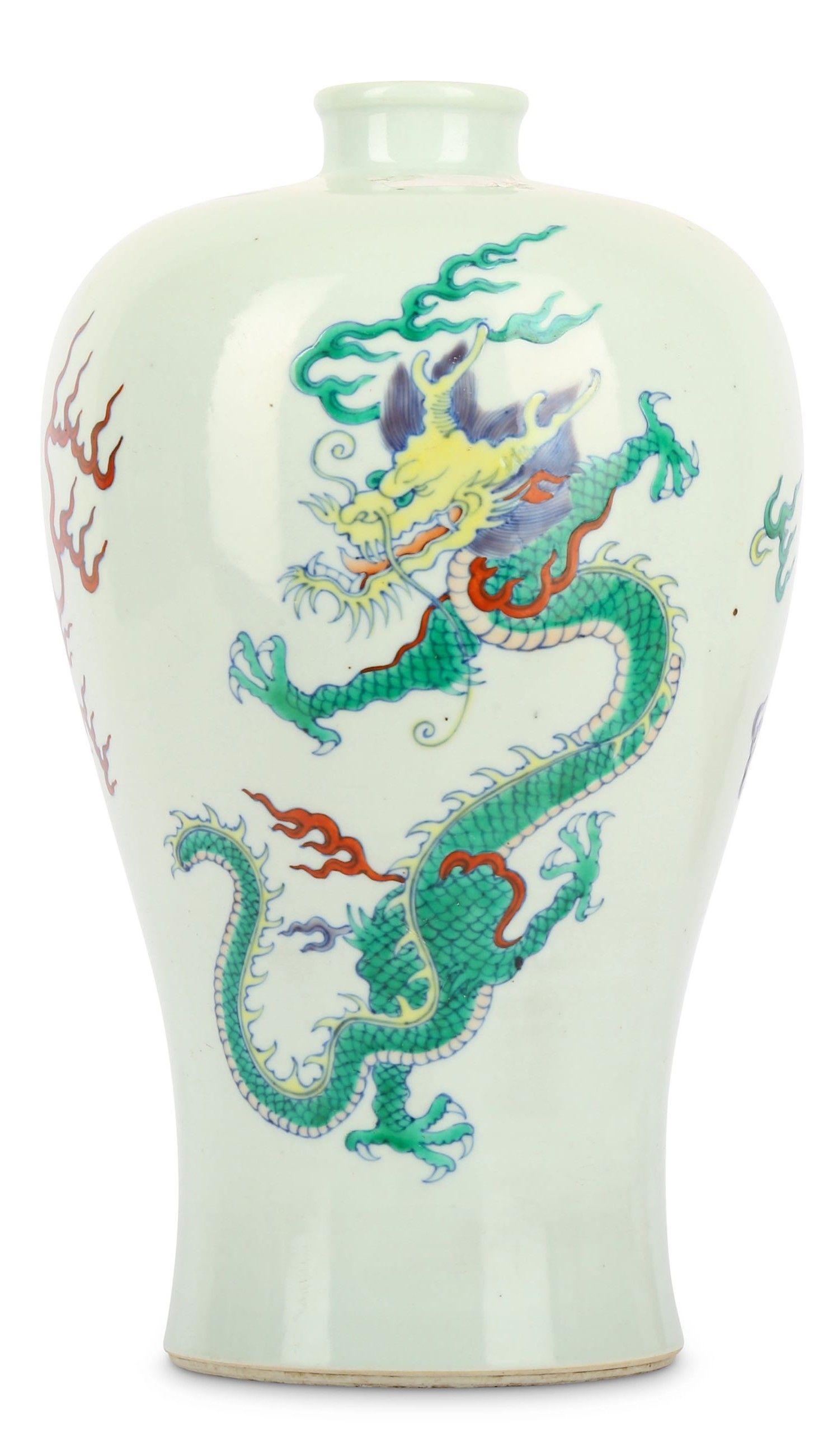 Doucai Dragon Meiping Vase | China | #dragon #dragons #art #antique #ceramic #ware #Jingdezhen #stoneware #porcelain #pottery #auction #history #poterie #céramique #sculpture #celadon #antiquité #brocante #stoneware #museum #sancai #nankin #dynasty #tang #ming #song #tong #yuan #Qianlong #qing #Cizhou #meiping #imperial #period #chine #drachen #drache #drago #Japan #meiji #satsuma #Shenlong #Tianlong #Qiulong #Panlong #longshan #ryū #龍 #竜 #龙