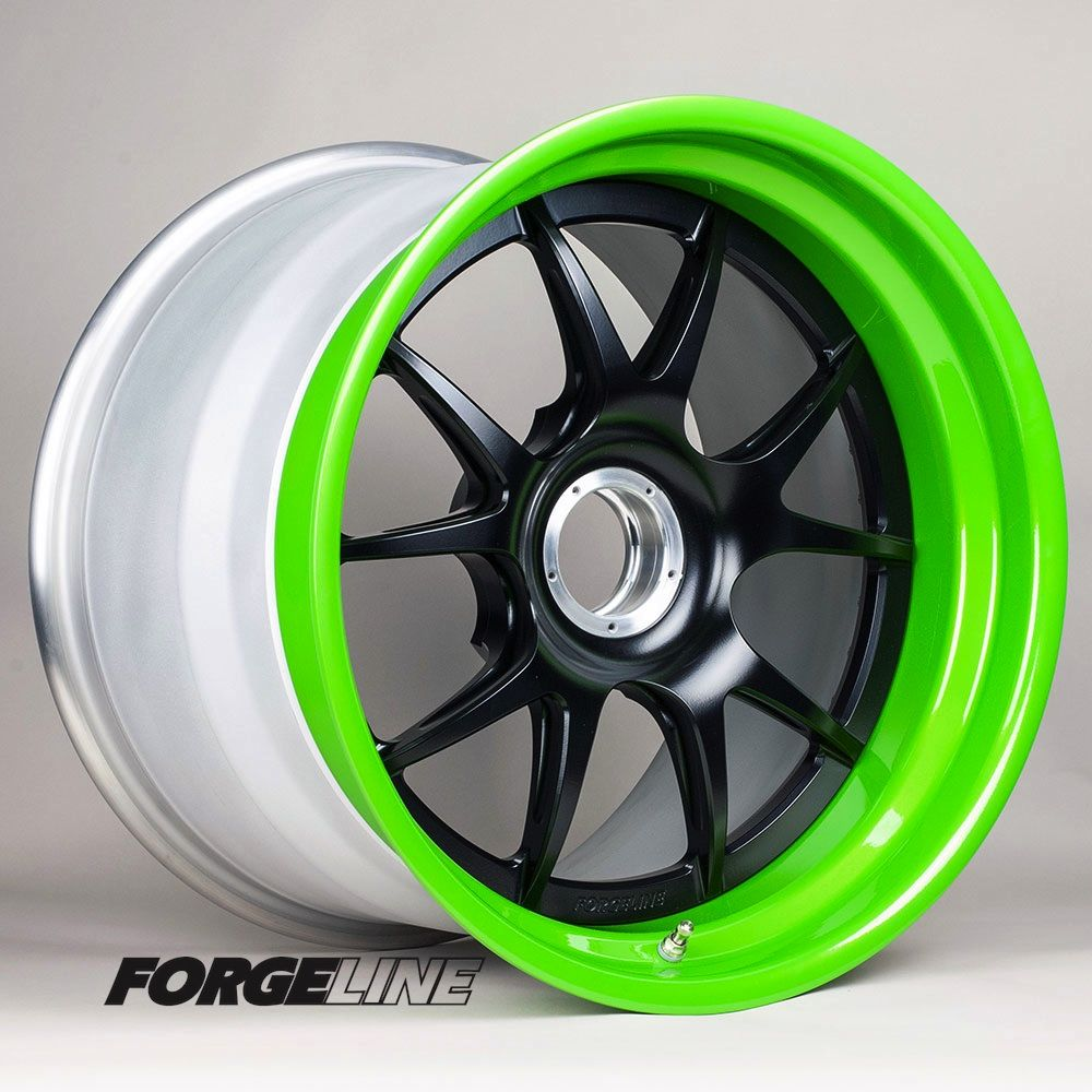 """Another new powder coat option is now available, thanks to Forgeline's in-house powder coating facility. We're calling this """"Candy Lime"""". Shown here combined with a Satin Black center on a Forgeline GA3R Center Lock for a Porsche racecar."""