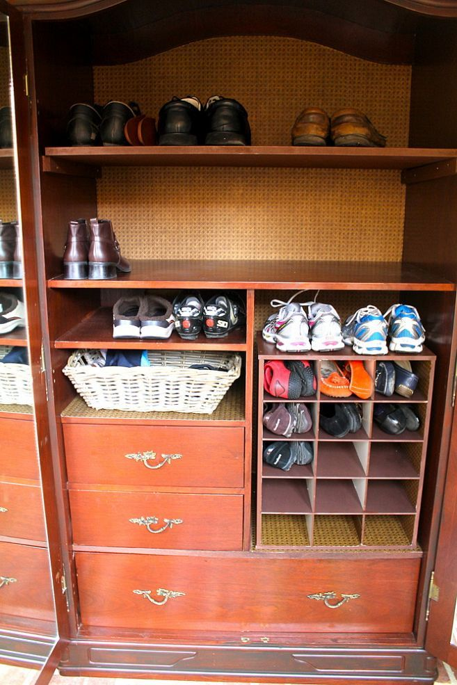 Turn An Old Television Armoire Into A Shoe Cabinet