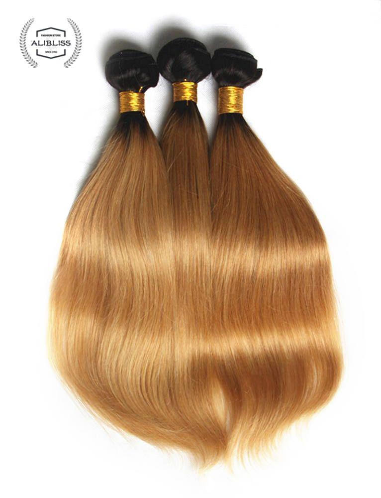AliBliss Virgin Human Hair Silk Straight Ombre 1B 27 Color