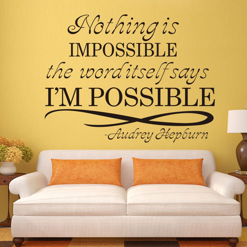 Aliexpress.com : Buy \'Nothing Is Impossible\' Quotes Wall Stickers ...