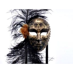 Gold And Black Volto Piume Con Brillantini Venetian Mask Masks Masquerade Mask Venetian Mask