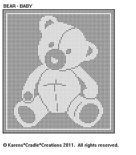 Details about BEAR - BABY FILET CROCHET Pattern #filetcrochet