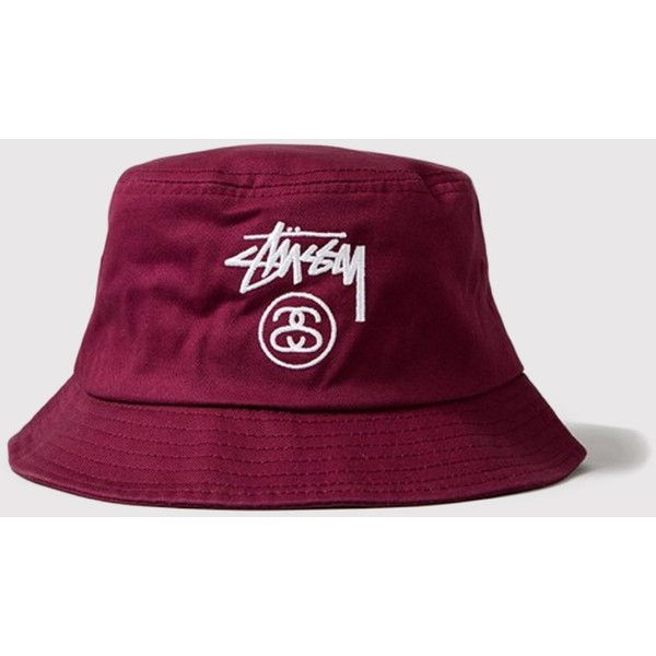 6556d52a62c Men Hats · Stussy Stock Lock Bucket Hat - Burgundy ( 25) ❤ liked on Polyvore  featuring men s