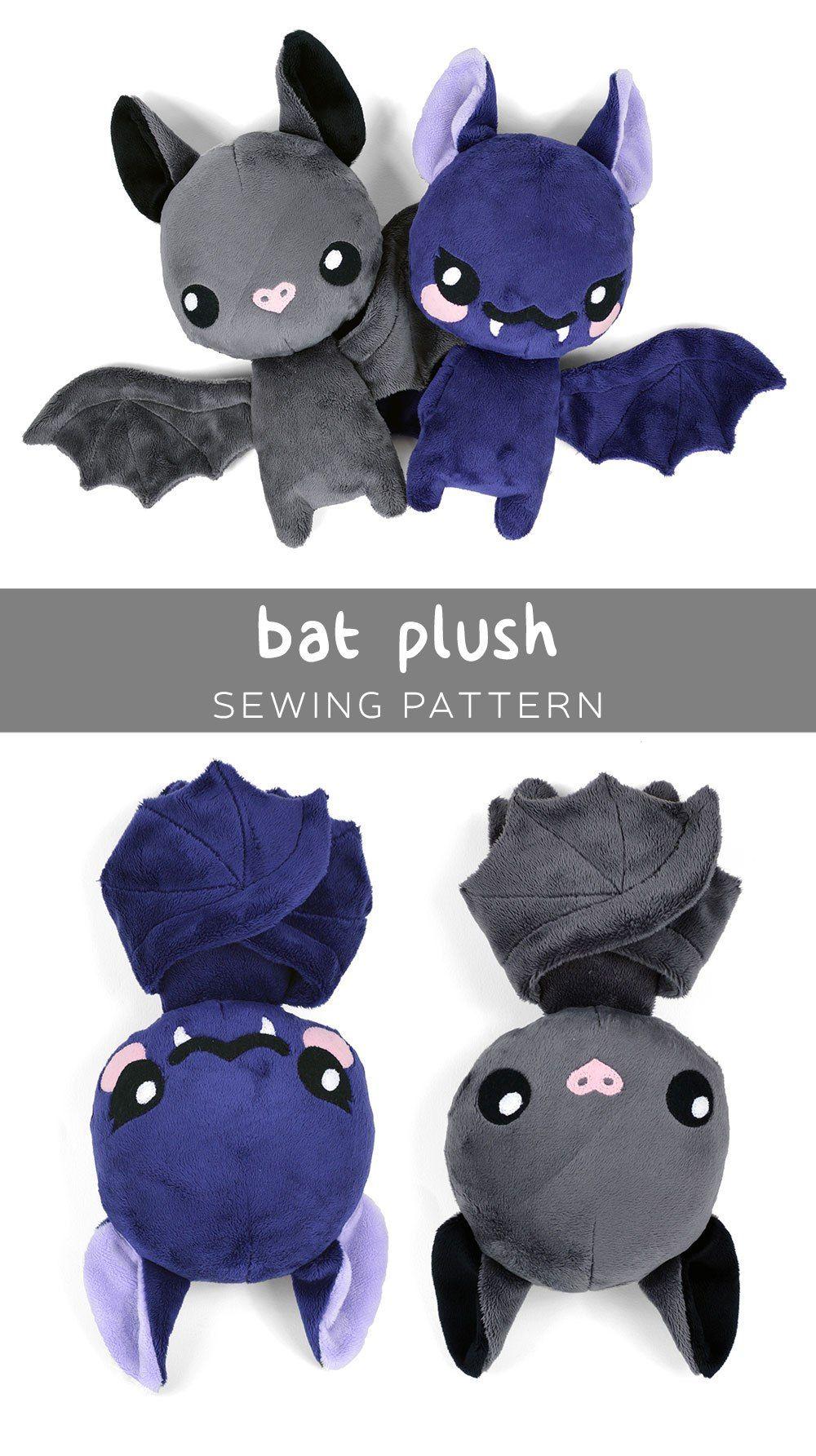 Free Bat Plush sewing pattern from cholyknight.com | Softies ...
