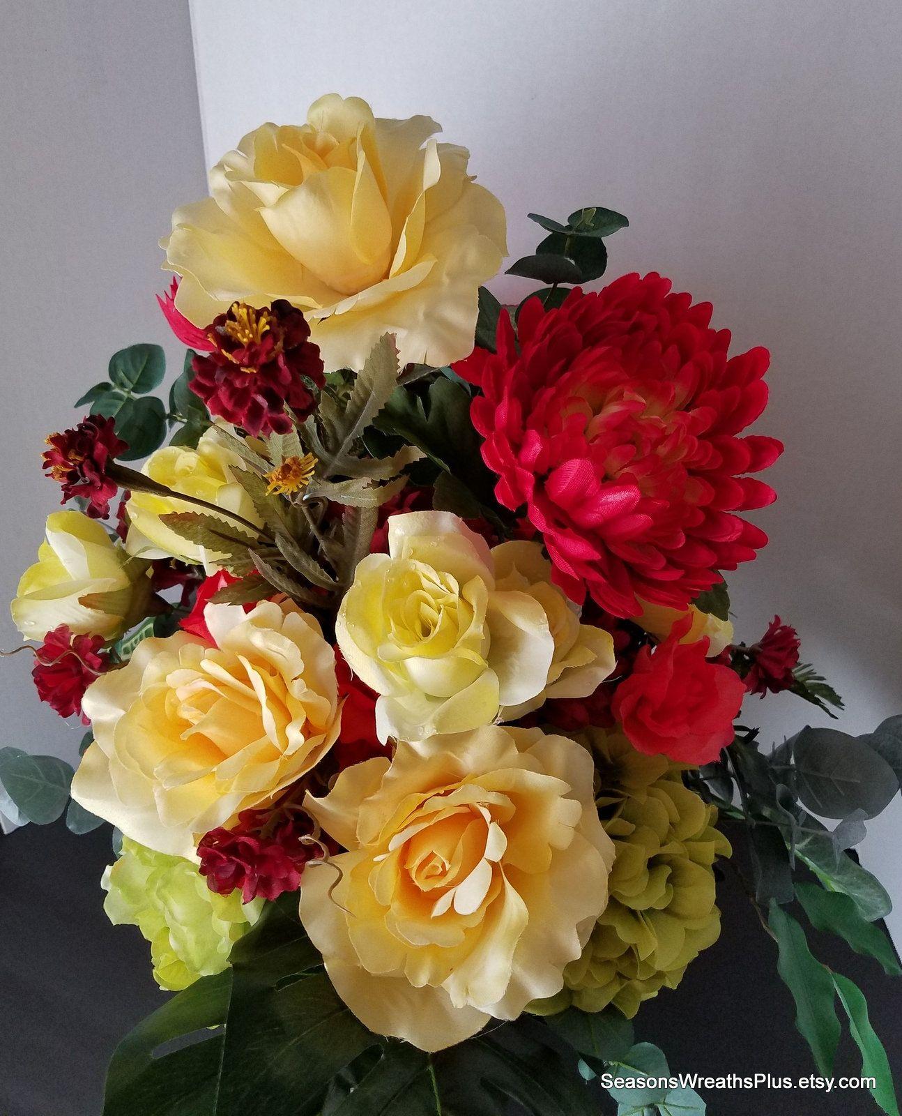 Artificial Flower Arrangement Artificial Yellow Roses Fall Floral